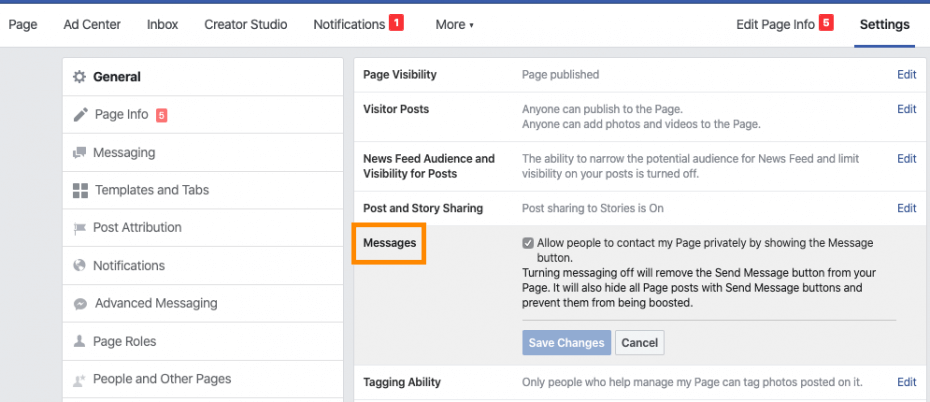 Messages section of your Facebook page settings
