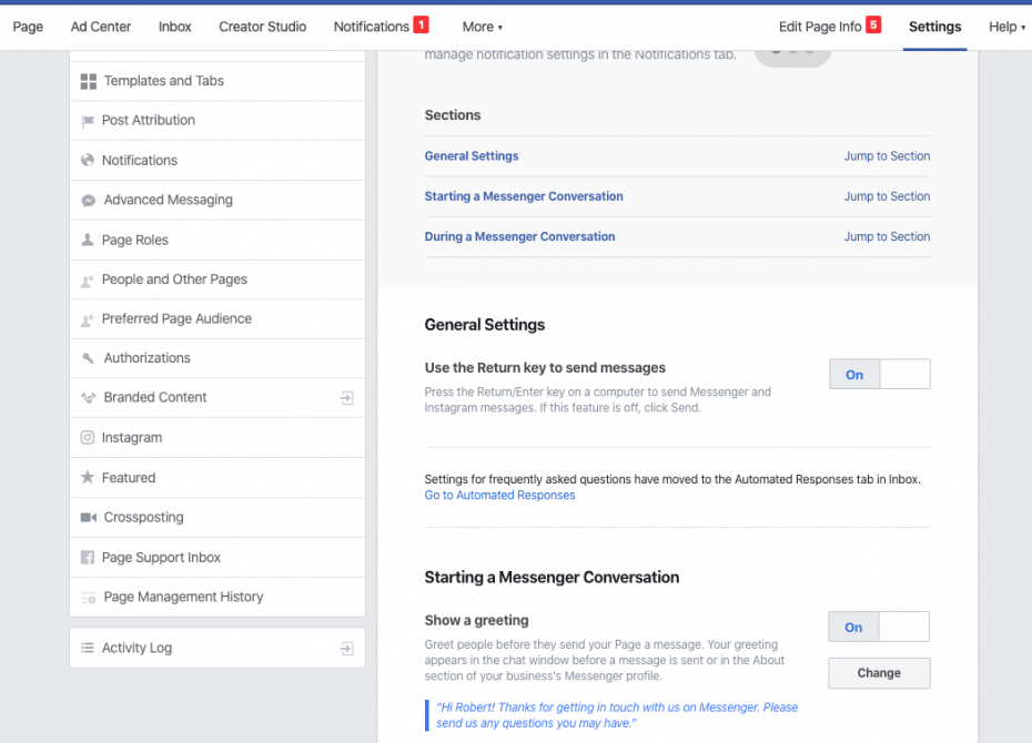 Starting a Facebook Messenger conversation automatically